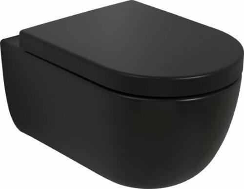Mat zwart wandcloset 54,5 cm randloos en softclose zitting