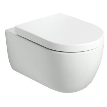 Mat witte wandcloset 54,5 cm randloos en softclose zitting