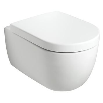 Witte wandcloset 54,5 cm randloos en softclose zitting