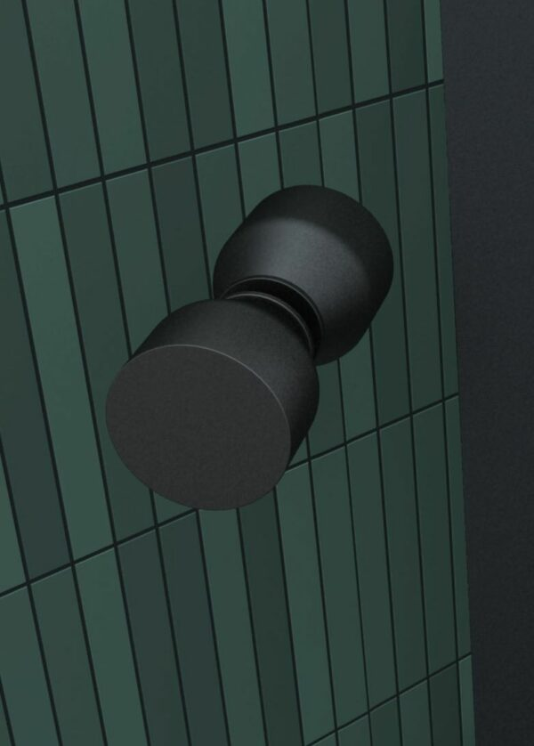 Douche-Design matzwart met een draaideur