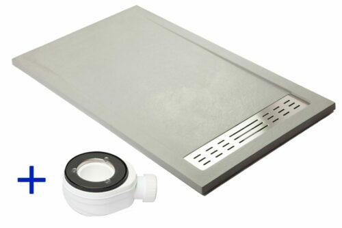 Leisteenlook douchebak cementkleur (grijs) met ingebouwde draingoot