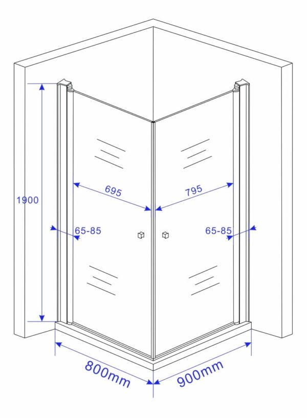 afmetingen van douchecabine met twee deuren