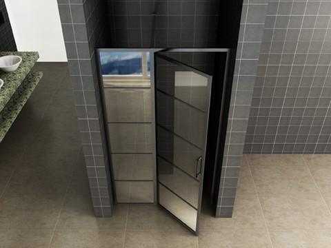 Mat zwarte douche nisdeur met vast glaspaneel