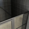 Stabilisatie stang van Mat zwarte douche nisdeur met vast glaspaneel