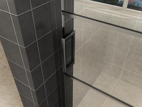 Handvat van Mat zwarte douche nisdeur met vast glaspaneel