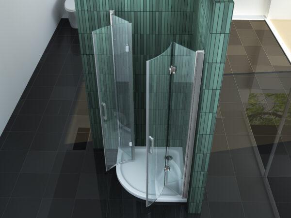 kwartronde douchecabine met vouwdeuren boven aangezicht