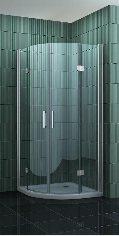 kwartronde douchecabine met vouwdeuren