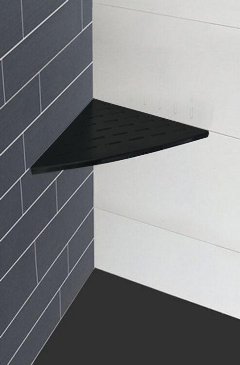 Inwall hoek planchet 29 x 29 cm mat zwart.