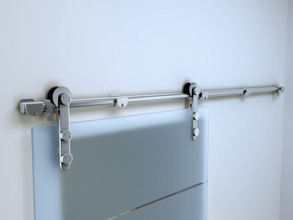Gehard Glazen Schuifdeur Op Een RVS Rail Systeem (mat