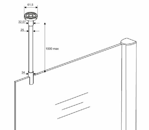 tekening Stabilisatie stang met plafond bevestiging