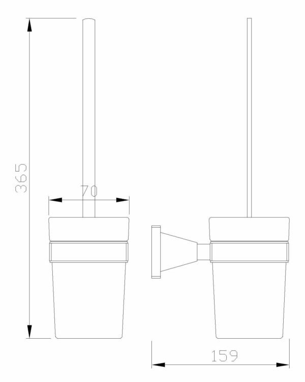 Tekening matzwarte toiletborstel houder