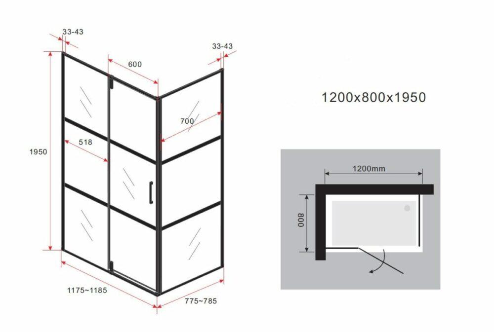 Tekening van Mat zwarte rechthoekige douchecabine met een draaideur