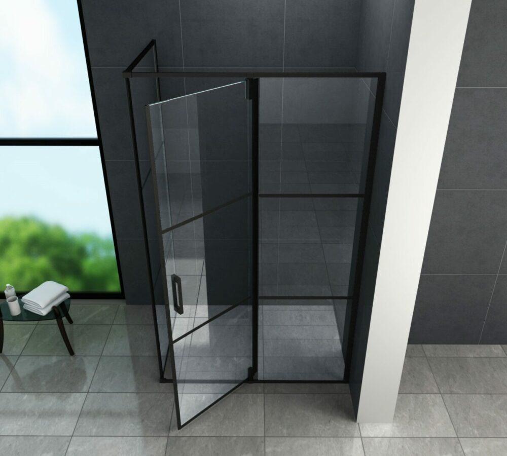 Boven aangezicht Mat zwarte rechthoekige douchecabine met een draaideur