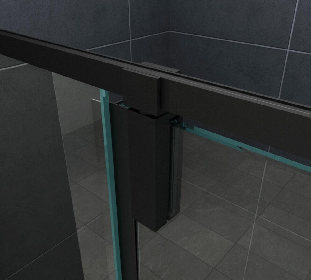 Detail van Mat zwarte rechthoekige douchecabine met een draaideur