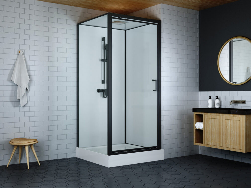 Zwarte rondom gesloten douchecabine met dakje