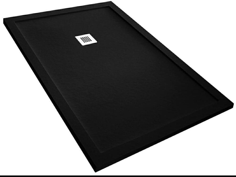 composiet douchebak rechthoek model in de kleur zwart