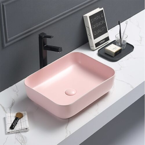 Rechthoekige Waskom Mat Pastel Roze